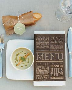 Menu, name card and place setting ideas.