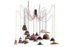 Interior Design Magazine: Alvaro Catalán de Ocón's  PET Lamp project, 2013. Recycled plastic, metal, paja de tetera fiber, wool. #Interiordesignmagazine #interiordesign #design #lamp #lighting #alvarocatalandeocon #southamerica