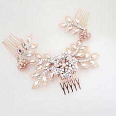 Rose Gold headpiece Wedding headpiece Bridal hair by treasures570