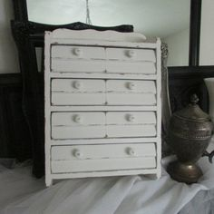 Adorable Vintage small wooden cabinet  jewlery box Spice drawer Shabby Chic Cottage Goodness on Etsy, $45.00