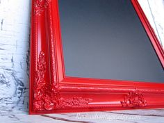 Magnificent Candy apple red trumps all when it comes to picture frames, especially of the magnetic/chalkboard variety. The post Candy apple red trumps all when it comes to picture frames, especia . Colorful Kitchen Decor, Red Kitchen Decor, Kitchen Decor Themes, Kitchen Ideas, Room Decor, Kitchen Redo, Kitchen Chalkboard, Magnetic Chalkboard, Framed Chalkboard