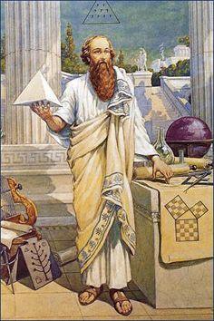 """Pythagoras von Samos ( * um 570 v. Chr.; † nach 510 v. Chr.), in der rechten Hand ein Tetraeder haltend. Illustration von J. August Knapp (1853-1938) Der """"Satz des Pythagoras"""" war lange vor Pythagoras in Ägypten, Babylon und Indien bekannt. Die Tetraktys, entsprechend dem vierbuchstabigen Gottesnamen war das eigentliche Heiligtum der Pythagoreer. Es war auch nicht nur Pythagoras allein, sondern der gesamte Pythagoreer-Bund, der sich mit der Tetraktys auseinandersetzte."""
