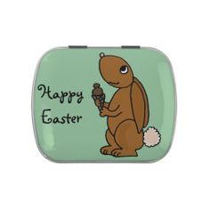 Brown Bunny Rabbit Eating Ice Cream Candy Tin #rabbits #funny #candy #Easter And www.zazzle.com/tickleyourfunnybone*
