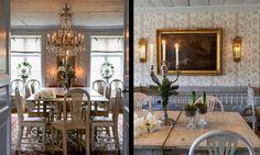 Julbordet väntar på att dukas i stora matsalen. Hyacinter har bäddats i mossa och den försilvrade kandelabern från 1800-talet har klätts med grankvistar. Över den gustavianska soffan hänger en äldre engelsk målning med jaktmotiv och två förgyllda lampetter.
