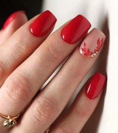 Square Nail Designs, Red Nail Designs, Short Nail Designs, Nail Design For Short Nails, Nail Art Flowers Designs, Gel Manicure Designs, Classy Nail Designs, Best Nail Art Designs, Beautiful Nail Designs