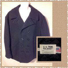 VINTAGE Men's SCHOTT NYC Navy U.S. 740N Peacoat Pea Coat Black Wool NICE!-50 2XL #Schott #Peacoat