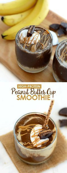 Healthy Peanut Butter Cup Smoothie - high protein and dairy-free! Healthy Peanut Butter Cup Smoothie - high protein and dairy-free! Yummy Drinks, Healthy Drinks, Yummy Food, Healthy Kids, Delicious Snacks, Juice Drinks, Healthy Juices, Healthy Sweets, Healthy Peanut Butter