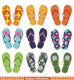 Flip Flops Digital Clipart Set - Personal and Commercial Use - Clip Art for Cards, Scrapbooking,  Paper Crafts, Travel Photo Books