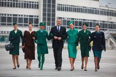 A photo set of Aer Lingus cabin crew uniform in Air Hostess Uniform, Trolley Dolly, Green Stockings, Dublin Airport, Mini Skirt Style, Airline Uniforms, Irish Fashion, Calf Length Skirts, Green Suit