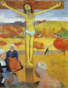 The Yellow Christ with women in traditional Breton dress surrounding him.