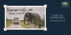 "#AdoftheWeek 1 July 2015: ""The Land Rover legacy #CelebrateDefender."" #CelebrateDefender afternoon traffic jam."