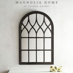 Magnolia Home Wood Framed Cathedral Window Mirror Black