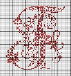 Le Monde de Zabou: Alphabet Sajou F Monogram Cross Stitch, Just Cross Stitch, Cross Stitch Needles, Cross Stitch Alphabet, Cross Stitch Flowers, Cross Stitch Charts, Cross Stitch Designs, Stitch Patterns, Embroidery Alphabet