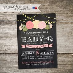 Chalkboard Baby-Q Baby Shower Invitation. by SabraTurnerDesigns