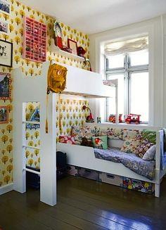 eclectic teen bedroom with loft bed