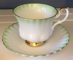 Royal Albert rainbow series green collectible fine bone china England tea cup and saucer great condition beautiful tea party high tea