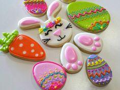 Easter cookies, Easter Bunny, Easter egg, carrot, bunny tracks, bunny footprint, Easter candy, Easter party,Easter gift by KessaCakes on Etsy https://www.etsy.com/listing/271879156/easter-cookies-easter-bunny-easter-egg