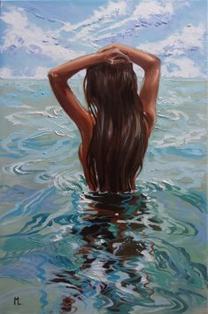 """ original painting SEA summer GIFT sea swimming, Oil painting by Monika Luniak on Artfinder. Discover thousands of other original paintings, prints, sculptures and photography from independent artists. Painting Inspiration, Art Inspo, Paintings For Sale, Original Paintings, Oil Painting On Canvas, Canvas Art, Woman Painting, Foto Cartoon, L'art Du Portrait"