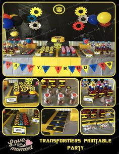 Transformers Printable Birthday Party Package - Bumblebee Birthday Set - Invitation, cupcake toppers, banner... by LovethisMomentParty on Etsy