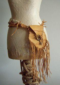 Leather Pocket Waist  Belt  Medicine Bag Pouch Leather  Fringe Three ways to wear