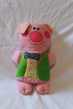 THREE LITTLE PIGS Soft Toy, Vintage Pig Shaped Storybook, Vintage baby toy, Plush toy pig for baby, baby shower gift, vintage story book by TheJellyJar on Etsy