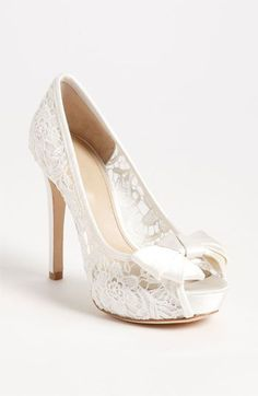 Delicate lace. Peep toe. Love. wish could find in shorter heel #NordstromWeddings#nordstromweddings  #nordstromweddings
