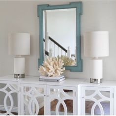 Jana Bek Design   Entrances/foyers   Teal Mirror, White Mirrored Cabinet,  Coral Accent Use Lattice Over Mirrors On Cupboard Doors