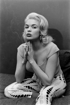 (( I adore this shot of Jayne! )) Jayne Mansfield smokes at home in Hollywood, 1956.