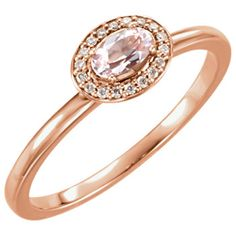 14kt rose gold morganite and diamond ring, .05cttw. Find it at a jeweler near you: www.stuller.com/locateajeweler