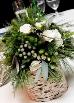 Great birch bark container for floral arrangement! … Great birch bark container for floral arrangement! Winter Wedding Centerpieces, Christmas Centerpieces, Floral Centerpieces, Xmas Decorations, Centrepieces, Centerpiece Ideas, Christmas Tables, Christmas Floral Designs, Christmas Flowers