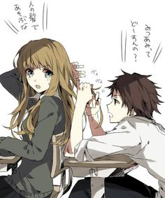 ♡cute anime couple in school