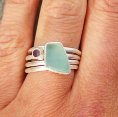 Sea glass stacking ring set- Sucree