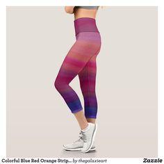 Colorful Blue Red Orange Stripes Pattern Capri Leggings Ombre Leggings, Orange Ombre, Capri Leggings, Pink Purple, Stripes, Colorful, Cute, Pattern, Red