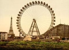 The second in our series of Parisian-themed prints, La Grande Roue de Paris, 1900 (Great Wheel of Paris) returns to early 20th-century world's fair culture. World's fair attractions of that era seemed to thrive on a spirit of one-upmanship: Ferris built his 1893 wheel to steal the thunder of the 1889 Exposition Universelle's Eiffel Tower. The Frenchies countered back at the Yanks with the 1900 La Grande Roue wheel pictured in this original photochrom, which bested Ferris' wheel by coming in…
