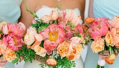 Pink Peonies & Peach Tulip Wedding Bouquet