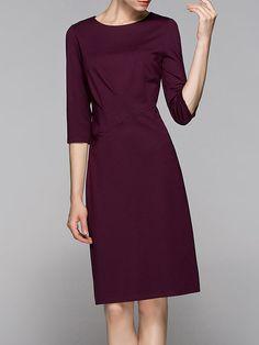 Shop Midi Dresses - Wine Red Solid Elegant Midi Dress online. Discover unique designers fashion at StyleWe.com.