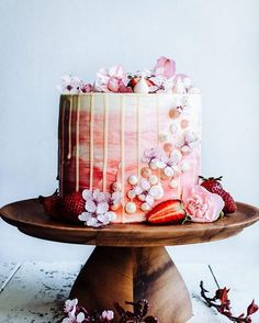 Strawberry and Vanilla Bean Cake courtesy of @meganleevoigt. Share your favorite cakes and include #beautifulcuisines by beautifulcuisines