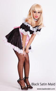 Lace maid satin sex slip stocking