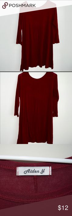 "Red Tee Shirt Dress This cranberry-colored tee-shirt dress is comfy, cute and can be worn for many occasions. Looks great with booties and a jacket or sandals in the spring! A must have in every girls closet!  ·Brand: ""Aiden Y"" ·Size: Medium ·No rips, holes or stains, dress is in excellent condition. ·Smoke and pet free home ·Fast Shipping!!  Thanks for stopping by! Check out my other items for more great stuff!  Happy poshing!! -Abbey 😊 Aiden Y Dresses Long Sleeve"