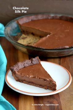 Dark Chocolate Silk Pie with Chocolate Almond Crust for Ella's Baby Shower. Vegan Glutenfree Soyfree Recipe