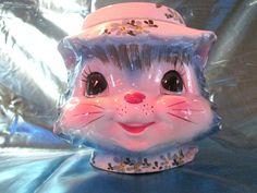Antique Vintage Kitsch Original Miss Priss 1950s Kitty Cookie Jar Lefton 14/1502