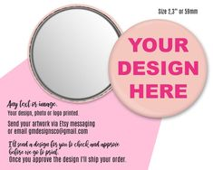 Personalized mirror compact mirror with your logo photo image 1