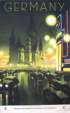 """Striking 1930 travel poster in the art deco style by Jupp Wiertz """"Berlin, Germany: Evening Near the Memorial Church"""" for the National Railroad ."""