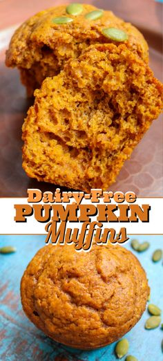 These dairy-free pumpkin muffins are a perfect addition to your Fall breakfast menu! SO moist, tasty and full of flavor, you won't be able to eat just one! Pumpkin Breakfast, Fall Breakfast, Pumpkin Dessert, Breakfast Menu, Breakfast Ideas, Dairy Free Pumpkin Recipes, Vegetarian Breakfast Recipes, Brunch Recipes, Snack Recipes
