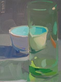 Karen O'Neil: glass, green, still life, light, pastel, distortion, cool colors, blue, turquoise