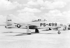 Republic P/F-84 Thunderjet. 1,432 of these straight-wing fighter bombers were…