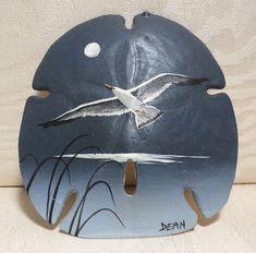 Sand Dollar Shell, Hand Painted Shell, Beach Shell, Sea Gull, Folk Art, Florida Americana, Americana, Bird Painting, Simple Elegance