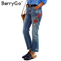 BerryGo Tassel fringe flare casual pants capris 2016 Autumn winter vintage embroidery jeans female Pockets jeans women bottom
