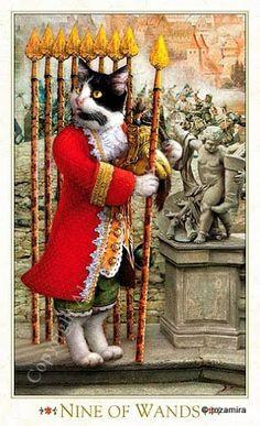 Nine of Wands - Baroque Bohemian Cats' Tarot, 2011 - rozamira tarot - Picasa Web Albums