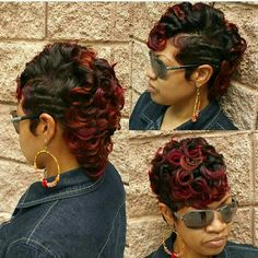 Details about Womens Short Wine Red Blone Ombre Wavy Wig Curly Synthetic Hair Full Head Wig - Crochet Ideas Medium Long Hair, Medium Hair Styles, Curly Hair Styles, Natural Hair Styles, Short Styles, Pixie Styles, Mohawk Styles, 27 Piece Hairstyles, Black Girls Hairstyles